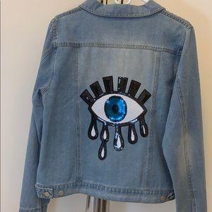 Lucky eye embellished jean jcket